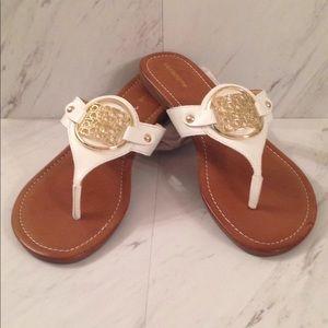 NWOT Liz Claiborne Slip On Sandals w/ Gold Detail