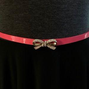 New KATE SPADE Skinny Patent Pavé Bow Belt SZ MD