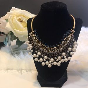 Stunning Pearl and Blue Statement Necklace