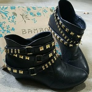 Bamboo Gold Studded Black Ankle Boots