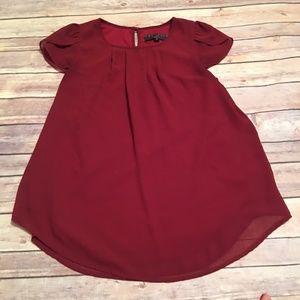 Burgundy cute cap sleeve blouse