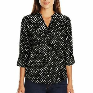 Notations Polka Dot Mandarin Neck Blouse