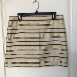 J Crew Metallic Striped Mini Skirt Holiday