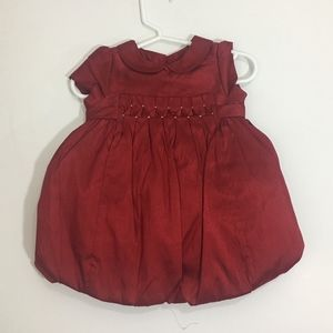 EUC Janie & Jack Christmas Silk Dress:  3-6M