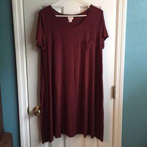 NWOT Burgundy dress with pocket.