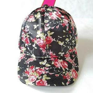 Black Satin Floral Baseball Cap NWT