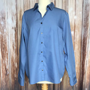 LAND'S END Women's Oxford Blouse Blue Size 18