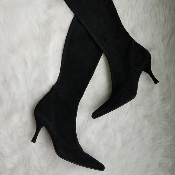 Kitten Heel Suede Boots