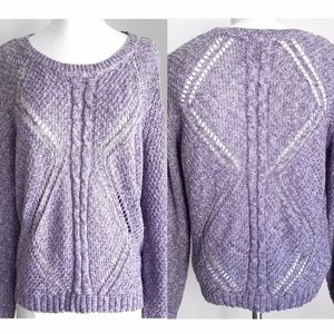 Sonoma Purple Crochet Diamond Cutout Sweater