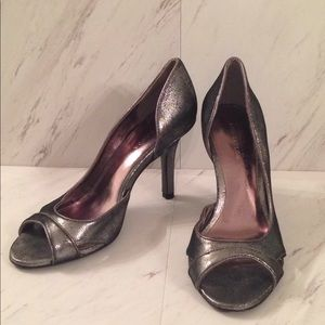 Shimmery Silver Ann Taylor d'Orsay Peep Toe Heels