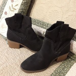 Shoes - NEW BLACK SUEDE BOOTS WITH WHITE STITCHING SIZE 6
