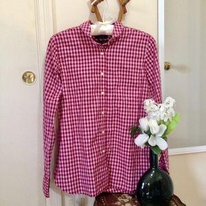 "J. CREW Club Collar ""Boy"" Shirt Red & Pink Gingham"