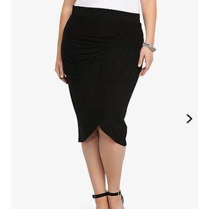 Torrid Skirt Size 1 1X Black Tulip Pencil Jersey