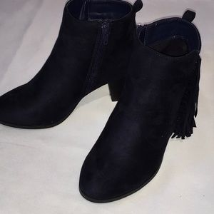 Navy Blue Suede Heeled Fringe Booties Size 6.5