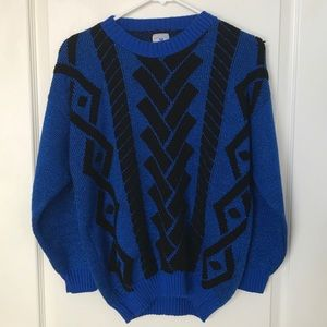 Vintage Geometric Sparkly Royal Blue Knit Sweater