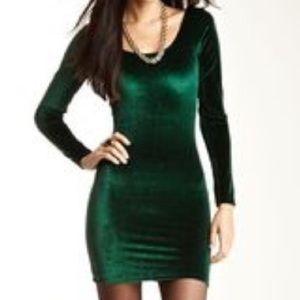 American Apparel Small Green Velvet Bodycon Dress