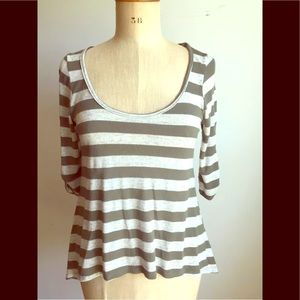 Army green and gray striped tee
