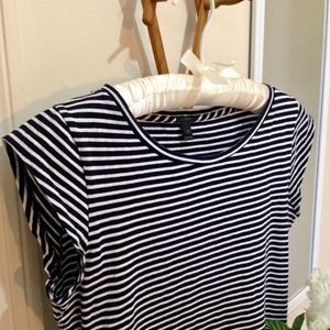 J. CREW Cap Sleeve Navy Blue & White Stripe Tee