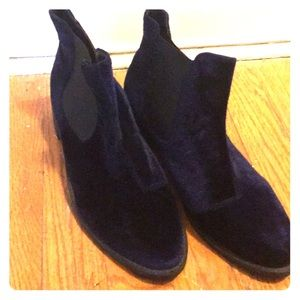 Never worn ASOS blue velvet Chelsea boots.