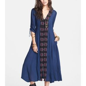Free People Journey Horizon Embroidered Midi Dress