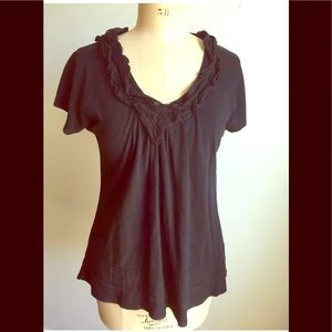 Black ruffled v-neck top