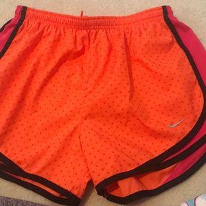 EUC Nike shorts orange with pink polka dots