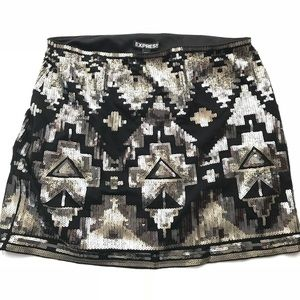 Sequin Silver Gold & Black Holiday Mini Skirt