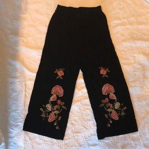 Velvet Floral Pants from Zara