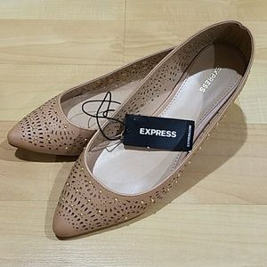 Express Nude Color Gold Studded Flats NWT
