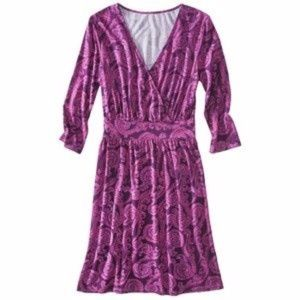 NWOT Pink Purple Paisley Wrap Dress- Merona Sz M