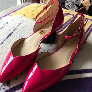 NWT Nine West Pink Flats w/ Ankle Straps Size 12