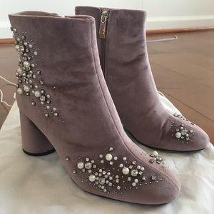 Zara Woman Beaded Velvet Ankle Boots size 37