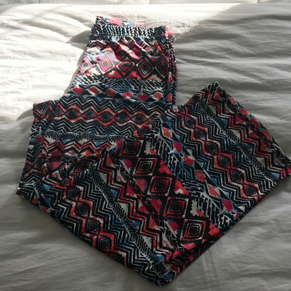 Pants - Fun Pants !pink blue black tribal type pattern