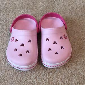 Girls Pink Disney Crocs, Size 2