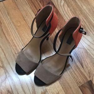 Zara Orange and tan color block heels