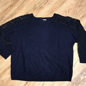 J Crew Collection Navy W/Lace Sleeves Sweater Lg