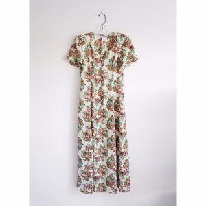 Vintage 90s Algo Petite Floral Print Maxi Dress S