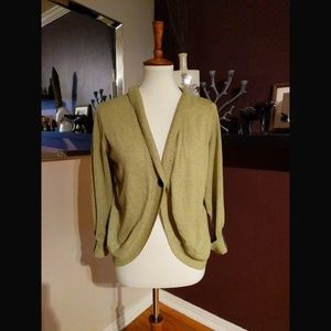 Cabi Green Hooded One Button Cardigan