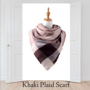 Accessories - Large Plaid Patterned Khaki Scarf 🧣 light weight