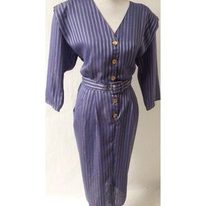 Gold /Blue Vintage Dress Size 18