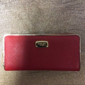 Michael Kors Saffiano Frame Red Continental Wallet