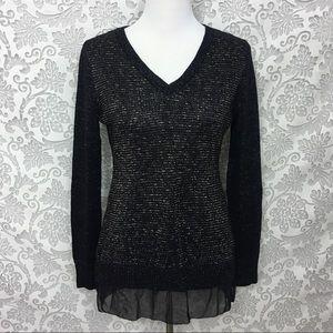 Soft Surroundings Tunic Sweater Metallic Sheer Hem