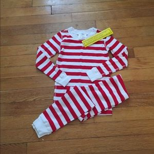 Hanna red and white striped pajamas size 100 NWT