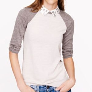 J. CREW MERINO TIPPI BASEBALL SWEATER / Small