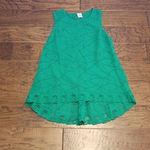 cabi green lace tank with hi-lo detail