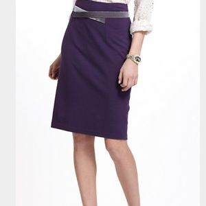 Girls from Savoy Velvet Trim Purple Pencil Skirt