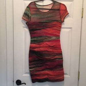BCBG multicolored ruched Dress