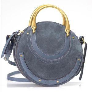 New Chloe Round Double Handle Blue Cross Body Bag