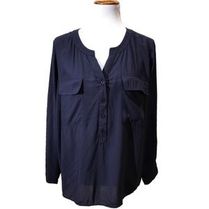 Coldwater Creek Navy Blue Popover Blouse