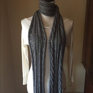 J Crew Silver Knit Scarf with metallic thread
